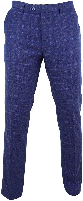 CAVANI Mens Tweed Wool Check Vintage 1920s Classic Tailored Fit Trousers Regular Length Navy-Kaiser 32