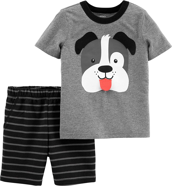 Carter's 2-Piece Dog Jersey Tee & Striped Short Set