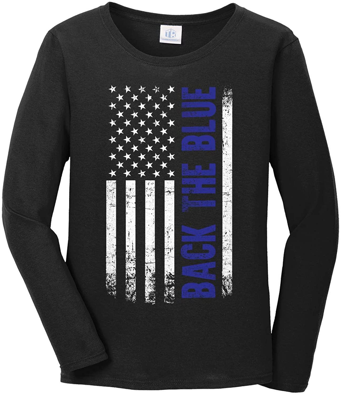 Threadrock Women's Back The Blue American Flag Long Sleeve T-Shirt
