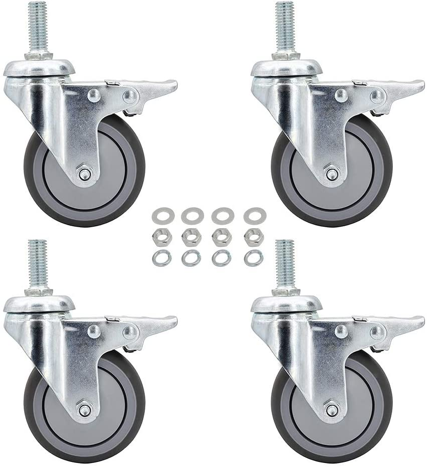 Caster Wheels, 3 Inch Rubber Casters, Set of 4, M12x 1-3/16