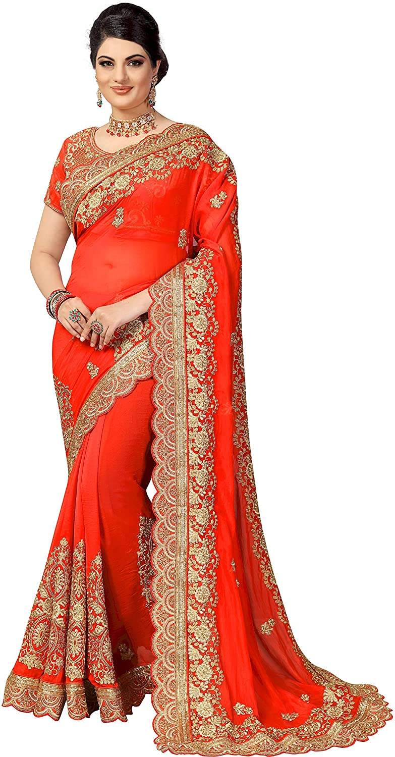 Sarvadarshi Fashion Women's Designer Fabric Silk embroidery Orange Saree With Unstitched Blouse piece