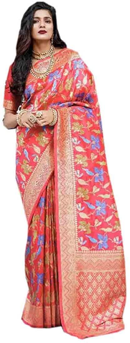 Pinkkart Pure Silk Thread Weaving Saree Wedding Party Festive Indian Women Sari Designer Blouse 54