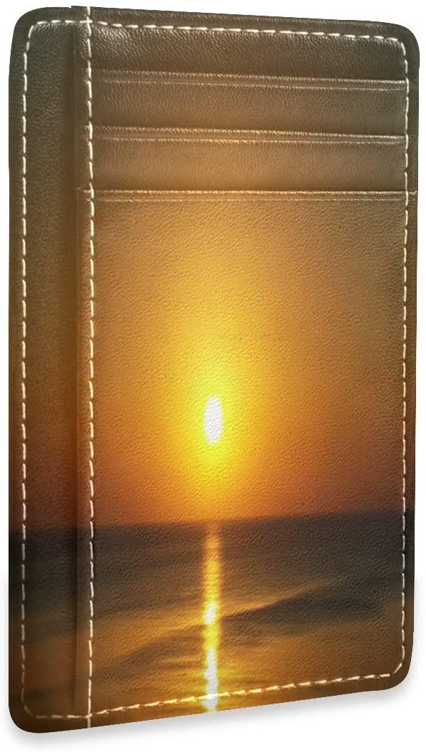 Tropical Sunset Beautiful Cute Slim Minimalist RFID Leather Wallets Front Pocket Credit Card Holder Men