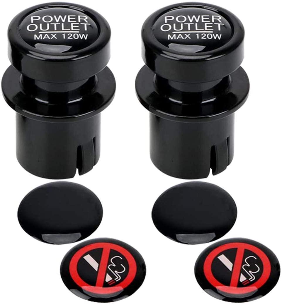 BREADEEP Cigarette Lighter Socket Cover Cap 2 Pack, Universal Waterproof Dustproof Plug for Car Power Port Outlet - Prevent Kids from Electric Shock