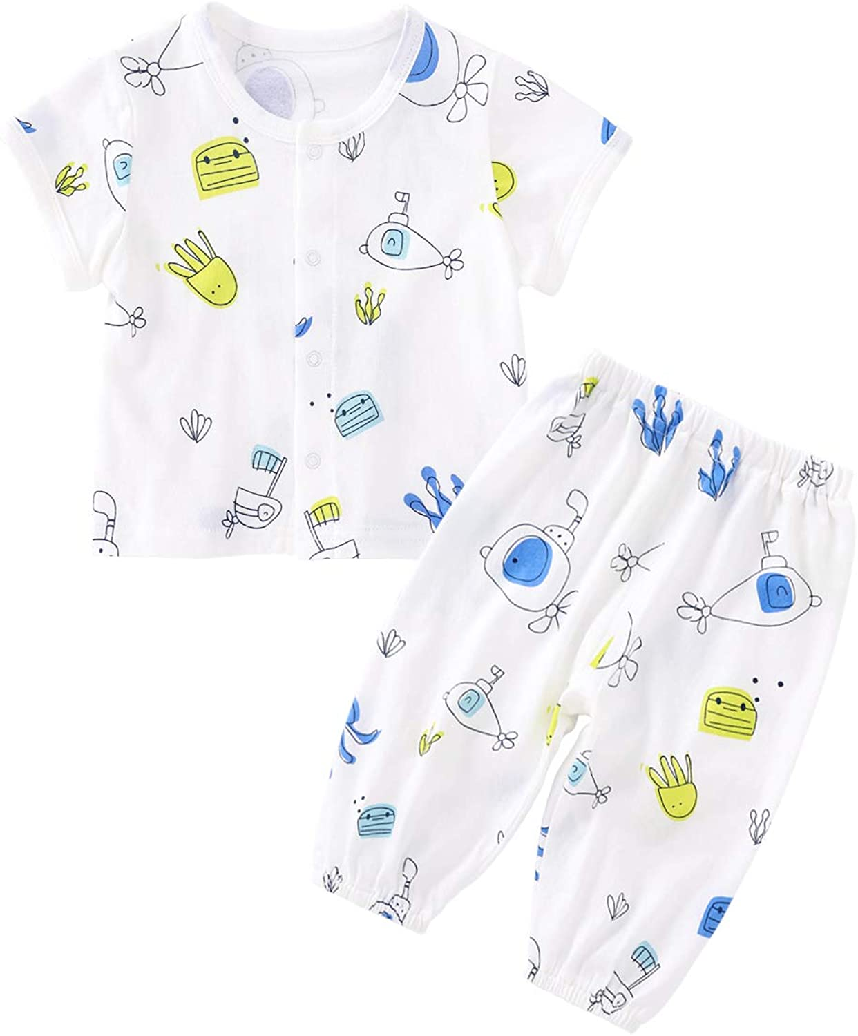 pureborn Baby Toddler Boys Girls 2-Piece Playwear Set Graphic Tee and Pants Set