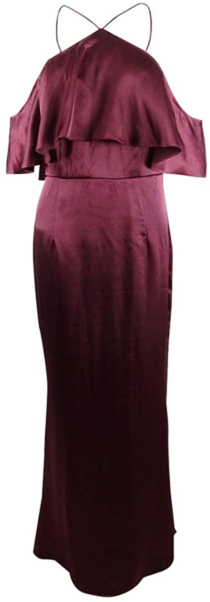 Adrianna Papell Women's Satin Ruffled Full Length Halter Gown