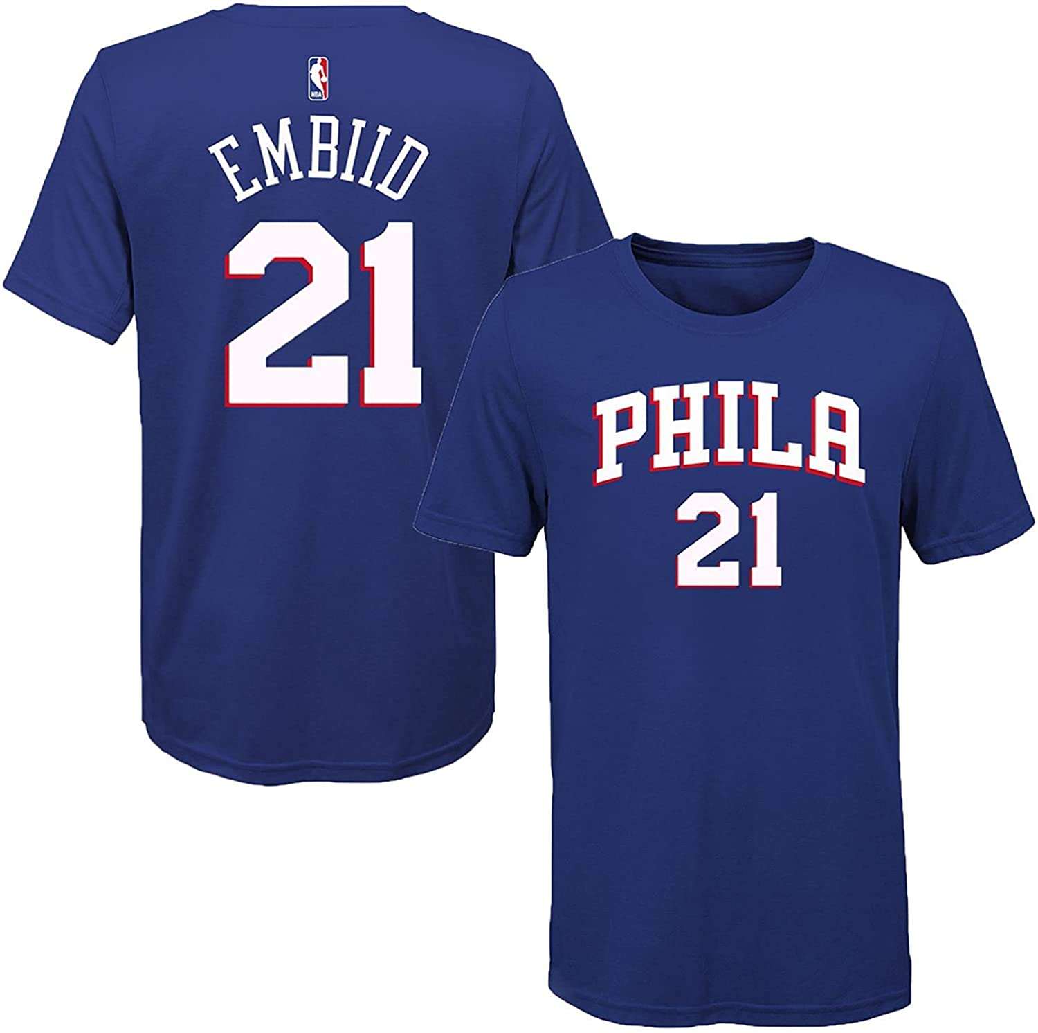 OuterStuff Joel Embiid Philadelphia 76ers Blue Youth Name & Number T-Shirt (Small 8)