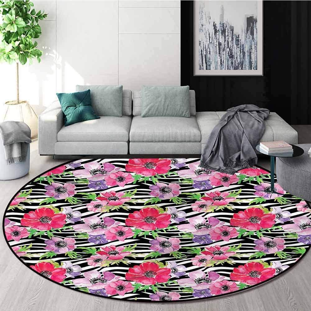 RUGSMAT Zebra Print Round Area Rug,Tropical Flowers Garden Non-Skid Bath Mat Living Room/Bedroom Carpet Diameter-39