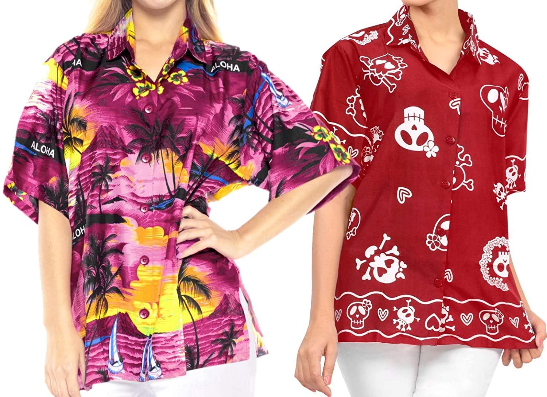 LA LEELA Women's Short Sleeve Button Down Casual Beach Hawaiian Shirt S Work from Home Clothes Women Blouse Pack of 2