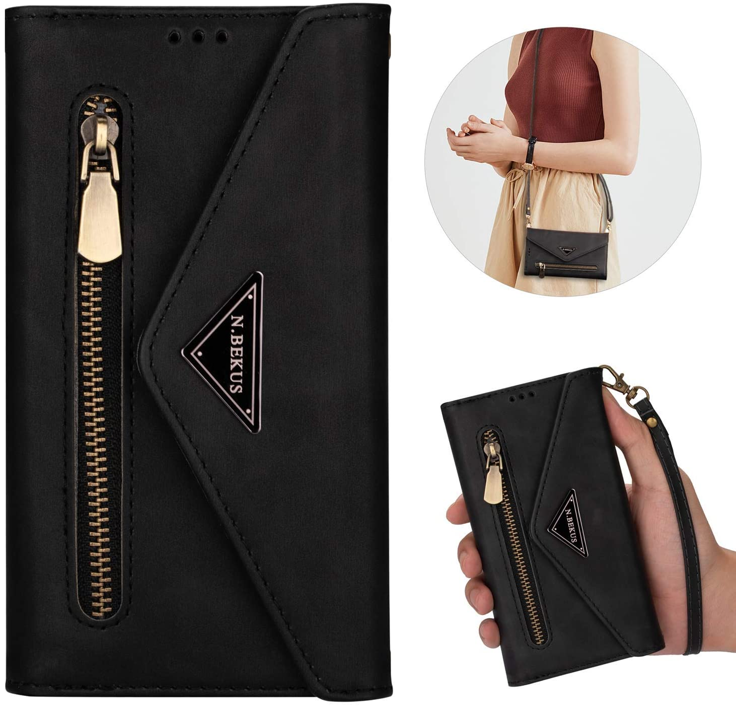 PHEZEN Crossbody Phone Case for iPhone 6S Plus / 6 Plus Wallet Case with Credit Card Holder Case Crossbody Strap Handbag Purse Zipper Flip Case Protective Cover for iPhone 6 Plus/6S Plus Black