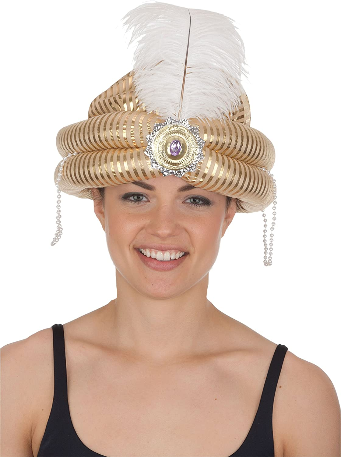 Jacobson Hat Company Mens Turban with Medallion and Feather