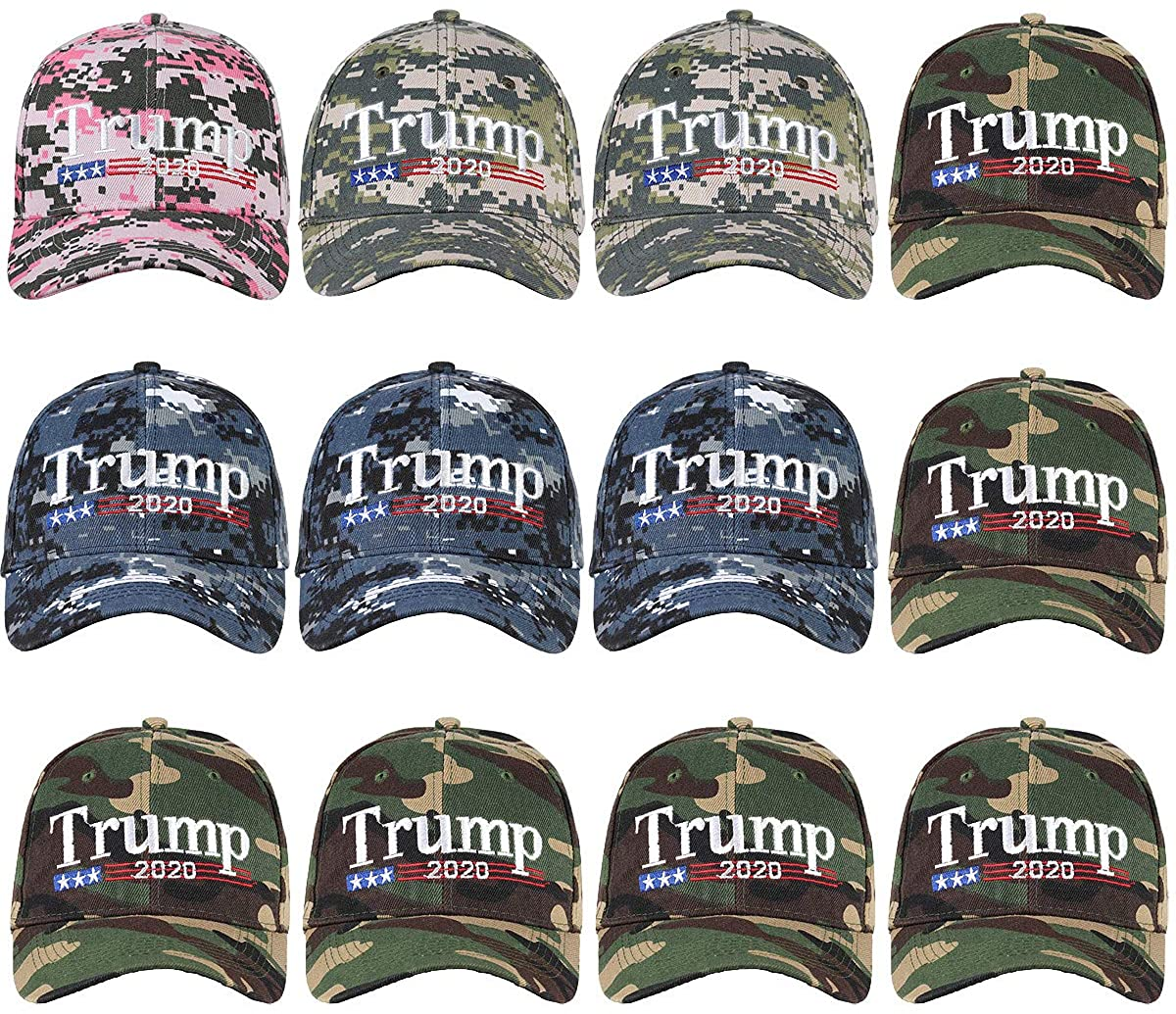 Wholesale 12-Pack Baseball Cap Donald Trump 2020 Keep American Great Again
