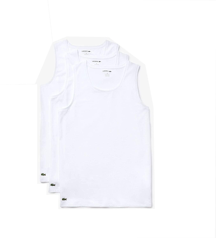 Lacoste Men's Essentials 3 Pack 100% Cotton Slim Fit Tanks