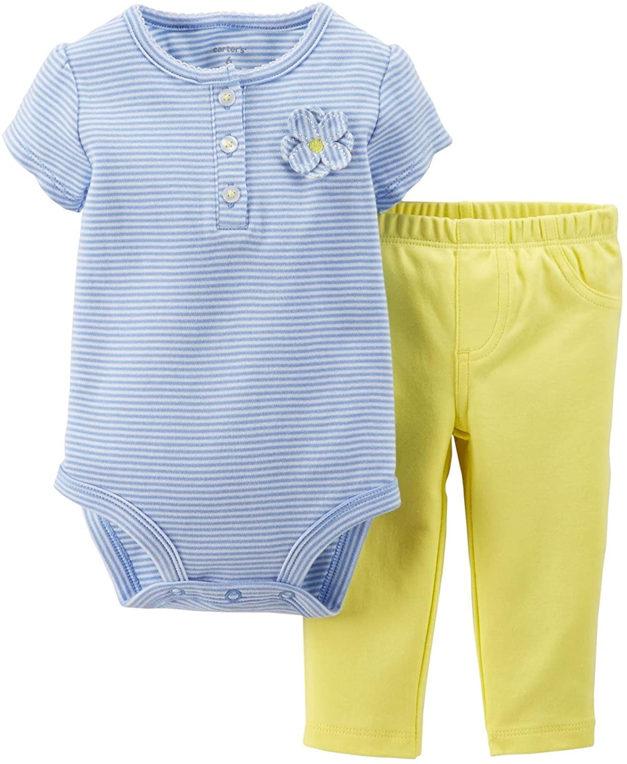 Carters Baby Girls 2 Piece Bodysuit & Pant Set (Baby) - Yellow - 3 Months