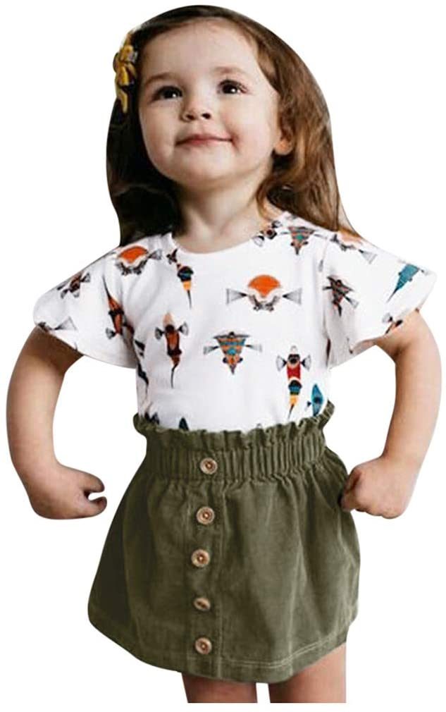Shan-S Children's Tops+ Skirts Clothing Set, Toddler Baby Girls Short Sleeve Cartoon Printed T-Shirt Tops+Solid Color Skirts Summer Outfits