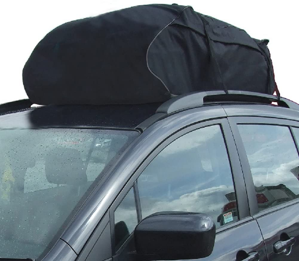 TIROL Weather Resistant Roof Bag Roof Top Cargo Carrier (15 Cubic Feet) Rooftop Cargo Carrier Includes Heavy Duty Straps Fits All Cars: with Side Rails, Cross Bars or No Rack, Carrier Bag Has 15 Cubi