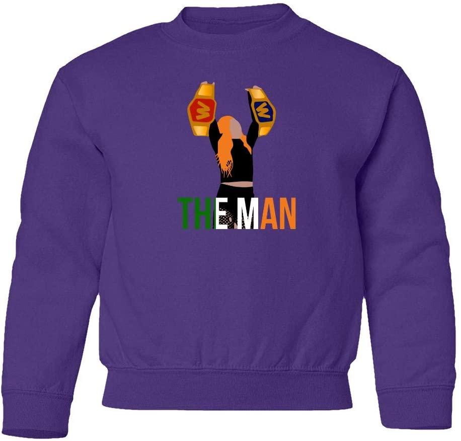 SMARTZONE The Man Double Champion Becky Lynch Champ Wrestlemania Unisex Youth Sweatshirt Crewneck Sweater (Purple, Youth Small)