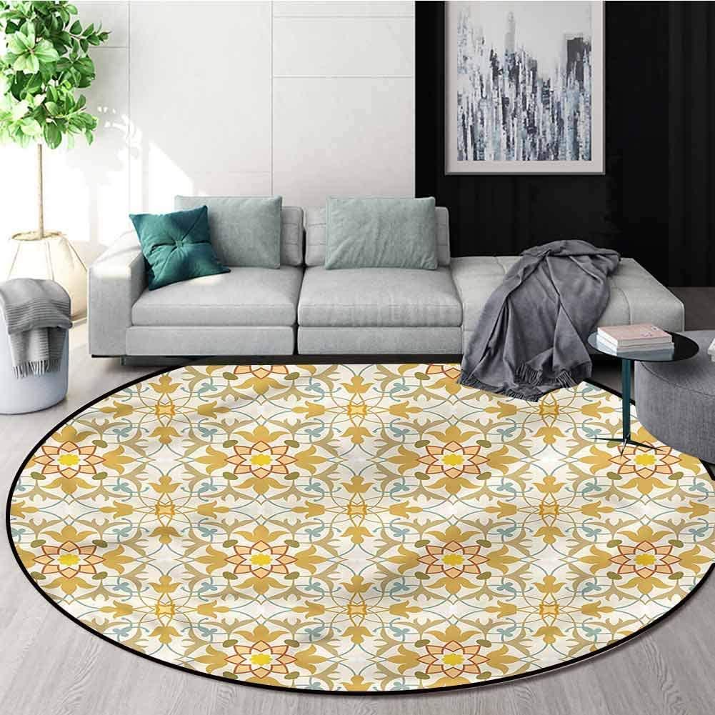 RUGSMAT Oriental Round Rug,Art Nouveau Style Foliage Non-Slip No-Shedding Kitchen Soft Floor Mat Round-47