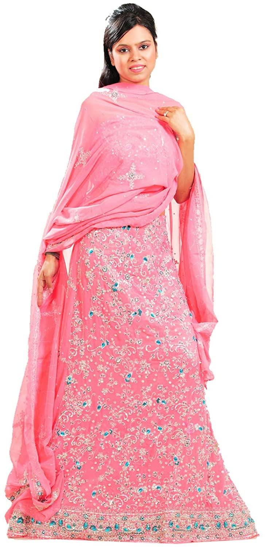 Indian Women Designer Partywear Ethnic Traditional Peach Lehenga Choli.