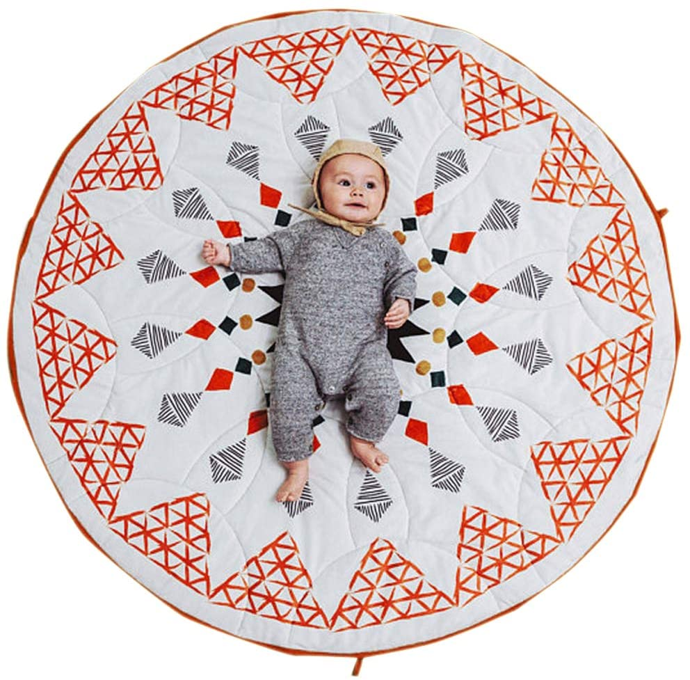 Satbuy Kids Round Play Mat Nursery Rug Geometric Pattern Moroccan Style Cotton Baby Crawling Pad Infant Play Mat Floor Playmats Washable Game Blanket Tummy Time Baby Play Mat 35.5inches