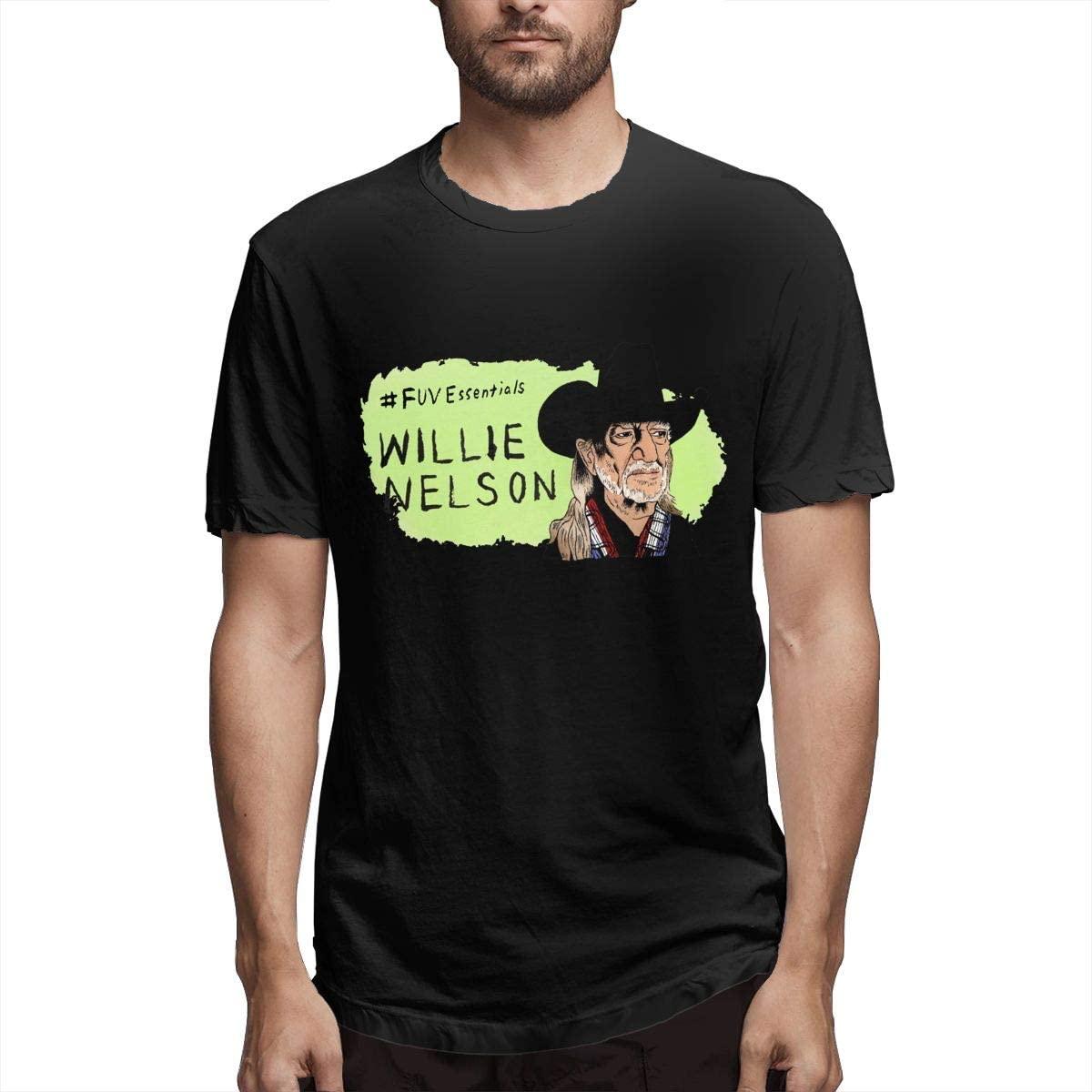 Willie Nelson Men's Short Sleeve T-Shirts Crew Neck Cotton Casual Tee Undershirt Black