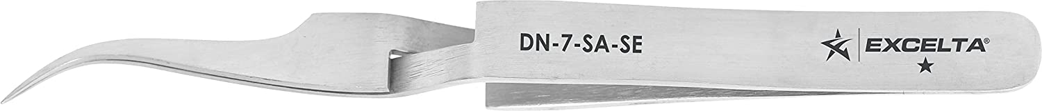 Excelta - DN-7-SA-SE - Tweezers - Fine Point - Reverse Action - Curved - One Star - Anti-Mag. SS, 0.5