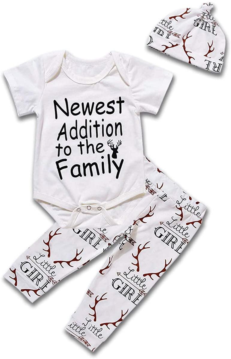 3PCs Newborn Infant Baby Girl Outfit Word Print Romper Little Girl Deer Horn Long Pants Hat Clothes Set