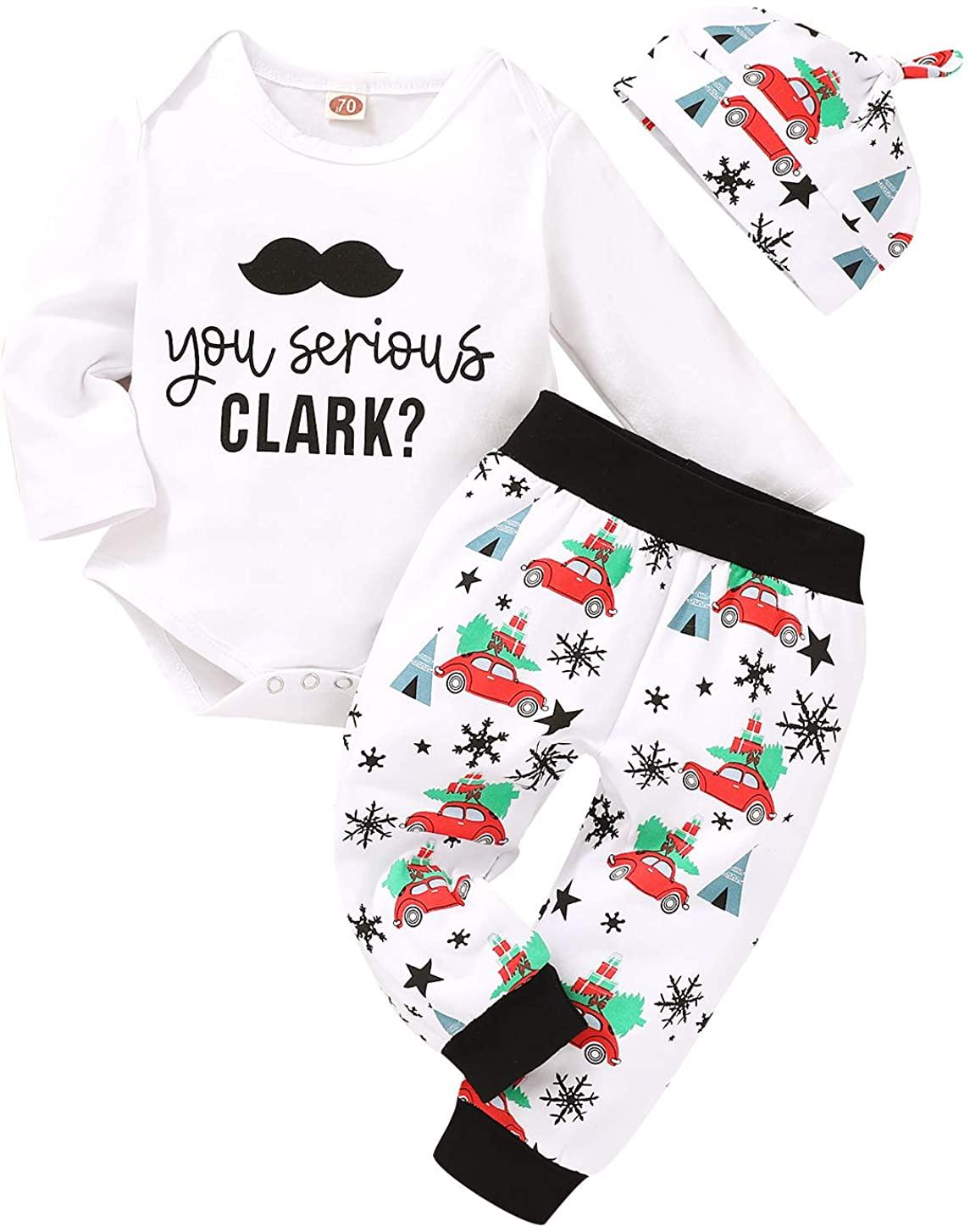 3Pcs Newborn Baby Pajamas Xmas Car Romper Pants+Xmas Hat Coming Home Outfits Set