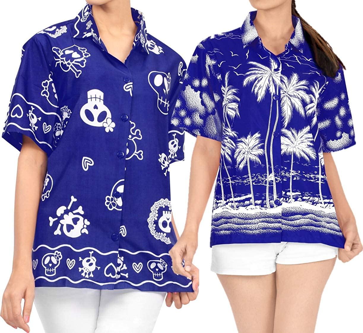 LA LEELA Women's Beach Hawaiian Regular Fit Short Sleeve Tunic Shirt Work from Home Clothes Women Beach Shirt Blouse Shirt Combo Pack of 2 Size L