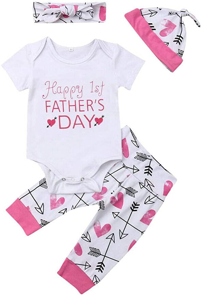 YOUNGER TREE Happy 1st Father's Day Newborn Infant Kid Baby Boy Girl Romper Pants Hat Clothes Outfits