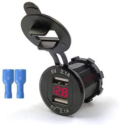 Davitu Cables, Adapters & Sockets - 12V-24V Universal Dual USB Charger Motorcycle Waterproof USB Voltmeter Cigarette Lighter Socket Adapter Plug For Car Motorcycle - (Color Name: Black)