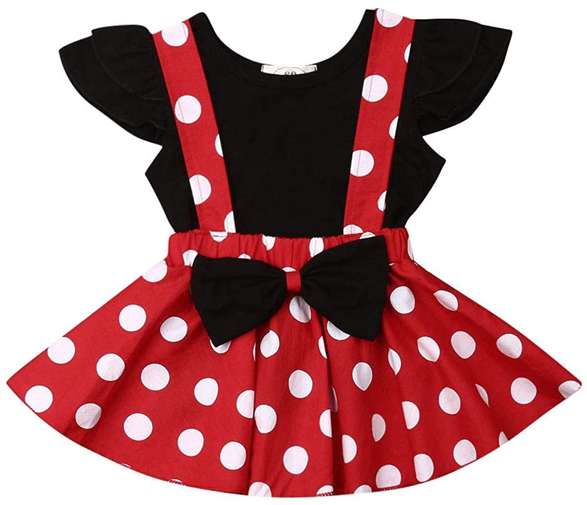 Toddler Baby Girls Ruffle T Shirts Polka Dot Suspender Skirts Playsuit Overall Outfits Set