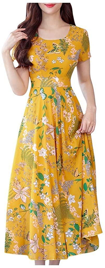 TOTAMALA Women's Dresses Summer Floral Printing Short Sleeve Beach Dress S-3XL