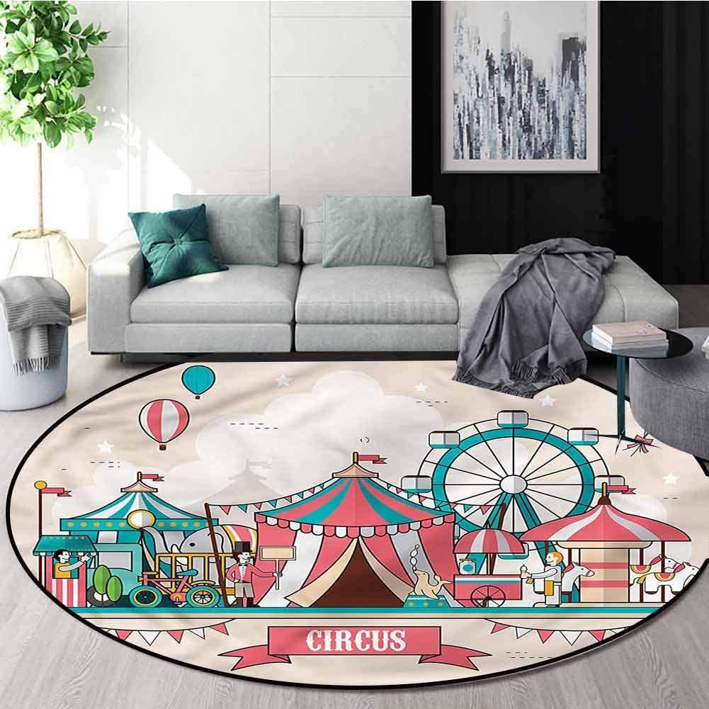 RUGSMAT Circus Modern Vintage Rugs,Circus Flat Balloons Non-Slip No-Shedding Kitchen Soft Floor Mat Diameter-39