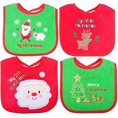 Christmas Baby Bibs,First Christmas Baby Gifts, 4pcs Different Pattern Waterproof Bibs,First Xmas Bib for Babies Newborns and Toddlers (4pcs, Xmas Bibs)