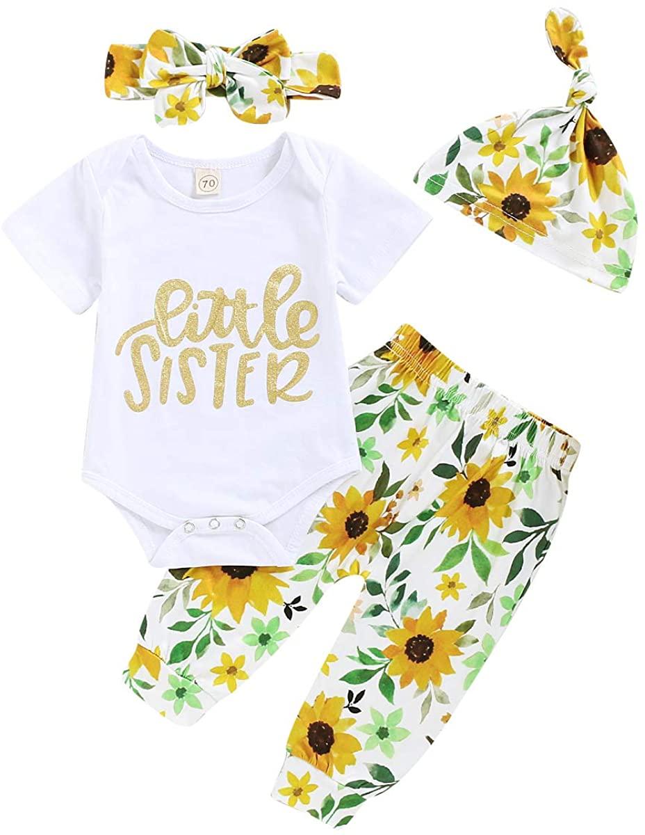 Aweyoo Newborn Baby Girl OutfitsBig/Big Sister Shirts Romper Sunflower Skirts