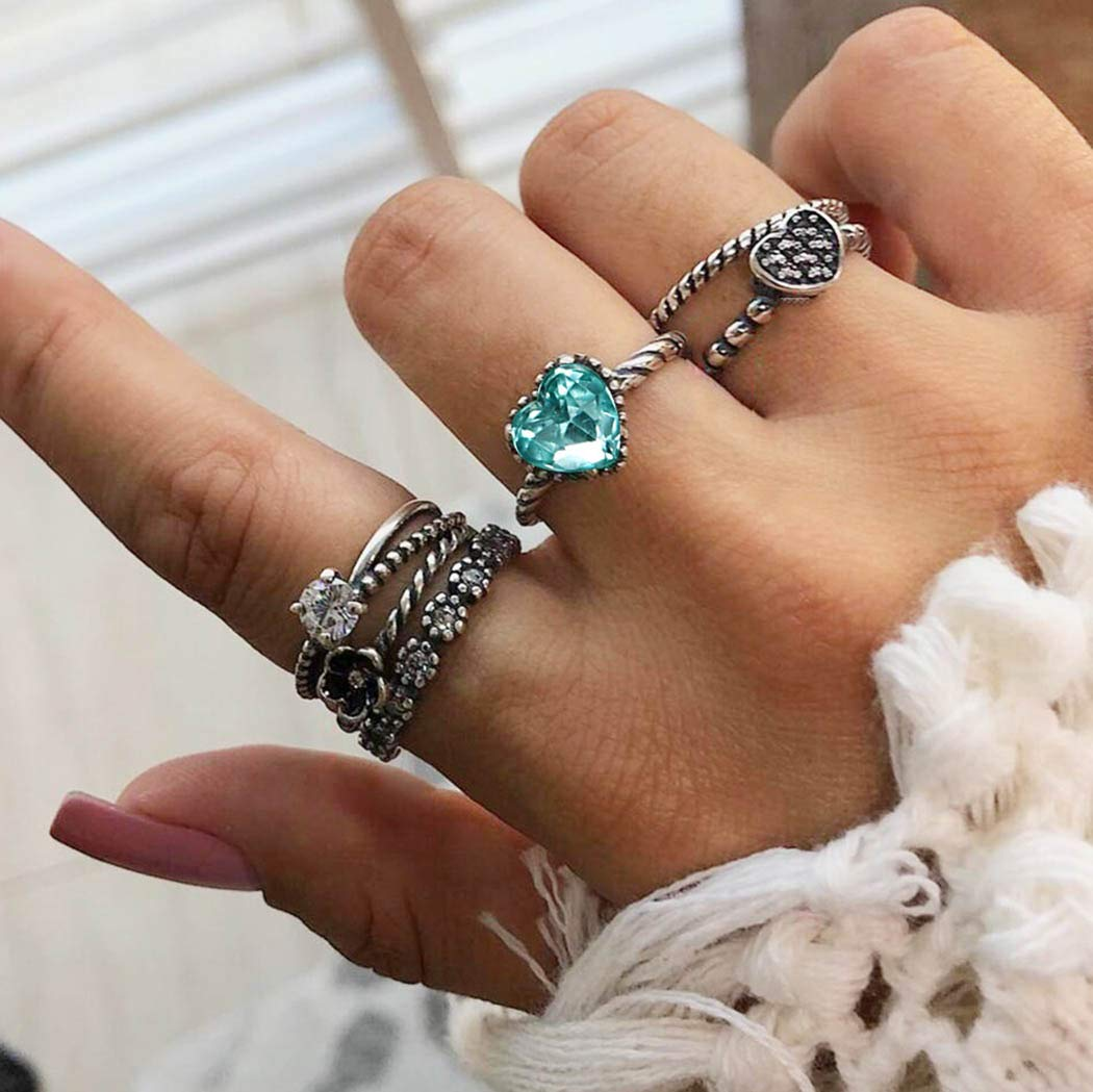 Simsly Boho Carved Knuckle Ring with Heart Silver Joint Knuckle Mids Rings Set for Women and Girls