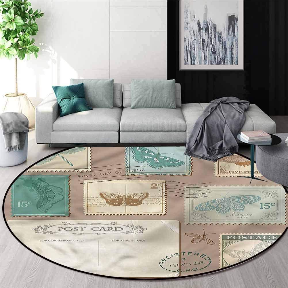 RUGSMAT Vintage Dining Room Home Bedroom Carpet Floor Mat,Postcard Stamps Composition Design Non-Slip Fabric Round Rugs for Floor Mat Carpet Diameter-47