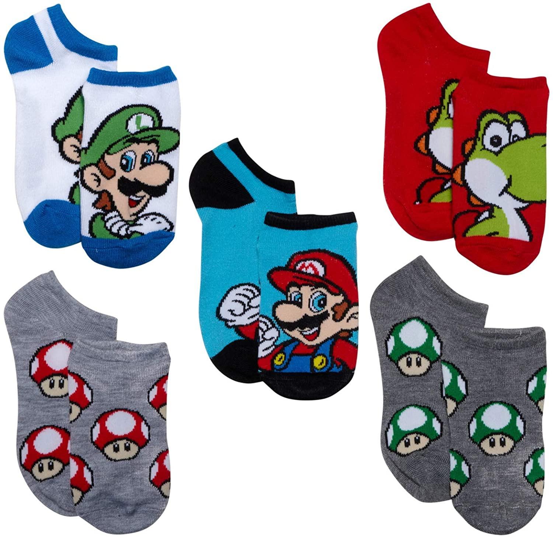 New Item Nintendo Super Mario Bros. Kids 5 pk no show socks
