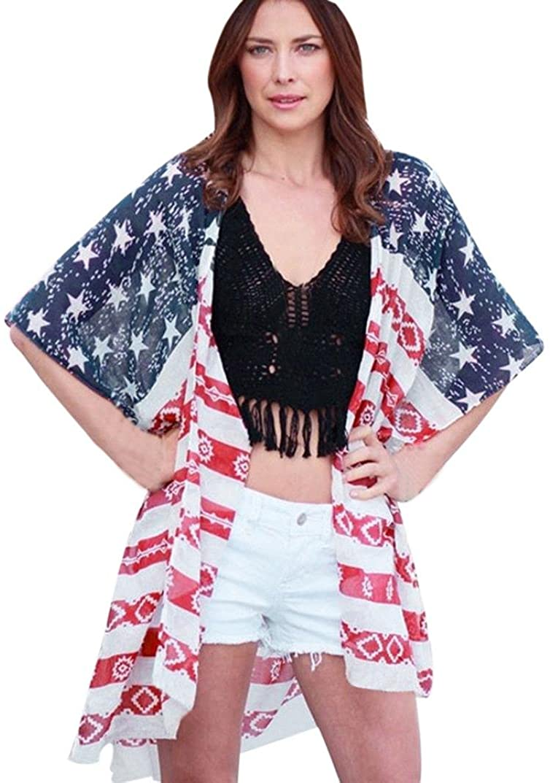 2018 New Mikey Store Women Kimono Cardigans American Flag Print Loose Chiffon Tops