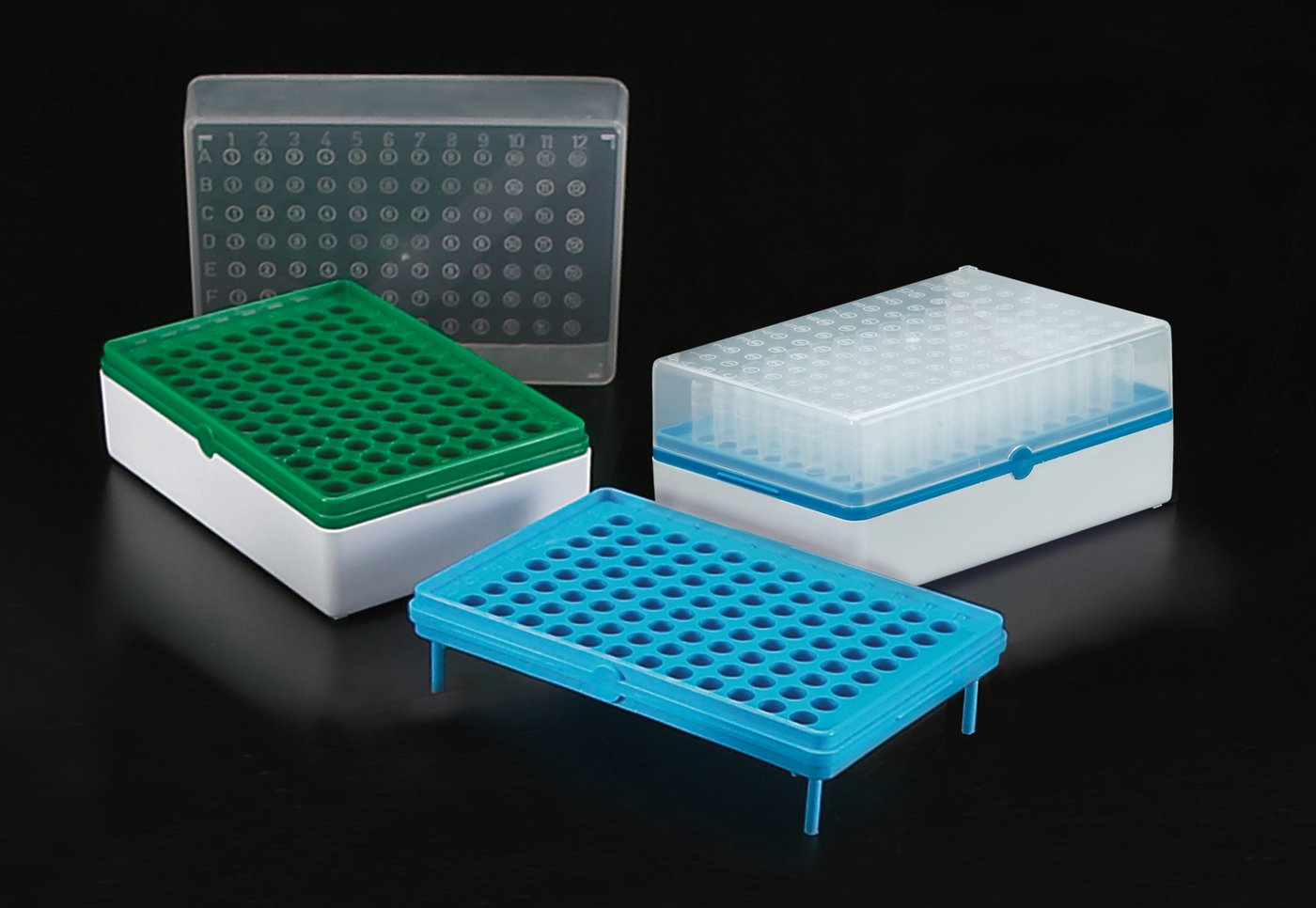 Simport BioTube T100-60G Polypropylene Grid Plate Only, Green (Case of 10)