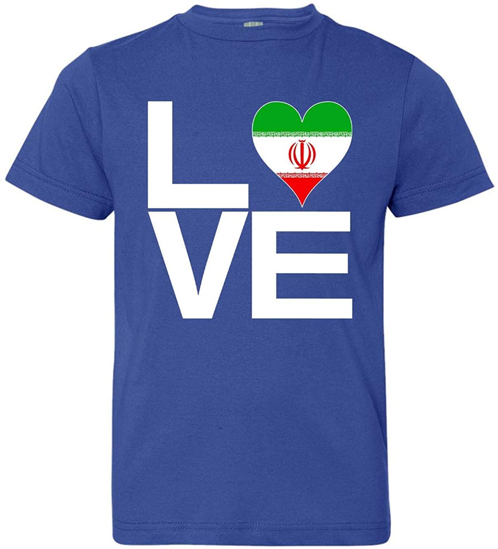 Tenacitee Boy's Youth Love Block Iran Heart T-Shirt
