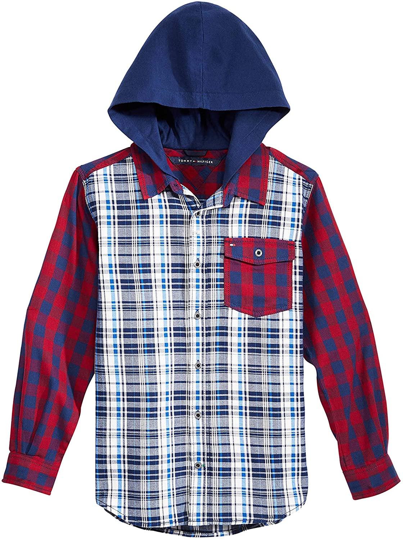 Tommy Hilfiger Big Boys Trevor Plaid Hooded Cotton Shirt