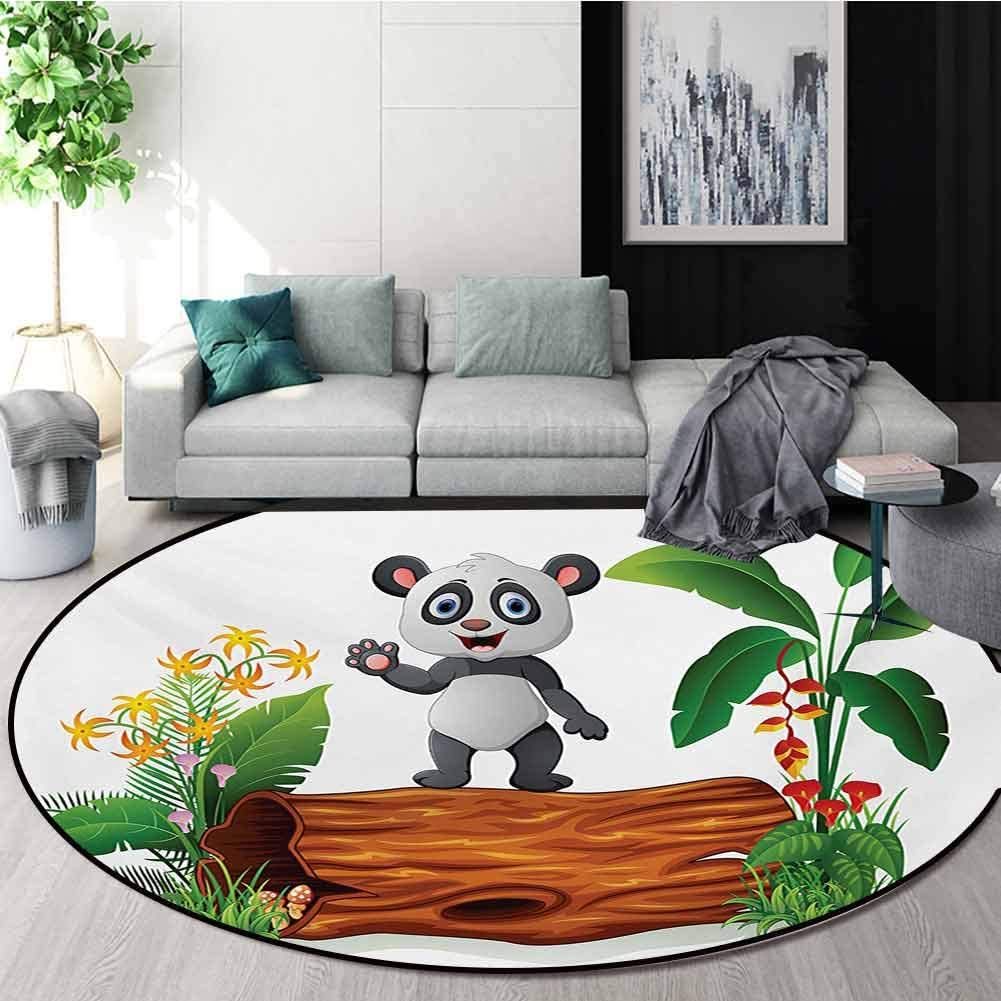RUGSMAT Panda Small Round Rug Carpet,Cute Baby Panda Standing On A Tree Trunk Tropical Flowers Big Leaves Colorful Art Door Mat Indoors Bathroom Mats Non Slip,Round-39 Inch Green Brown