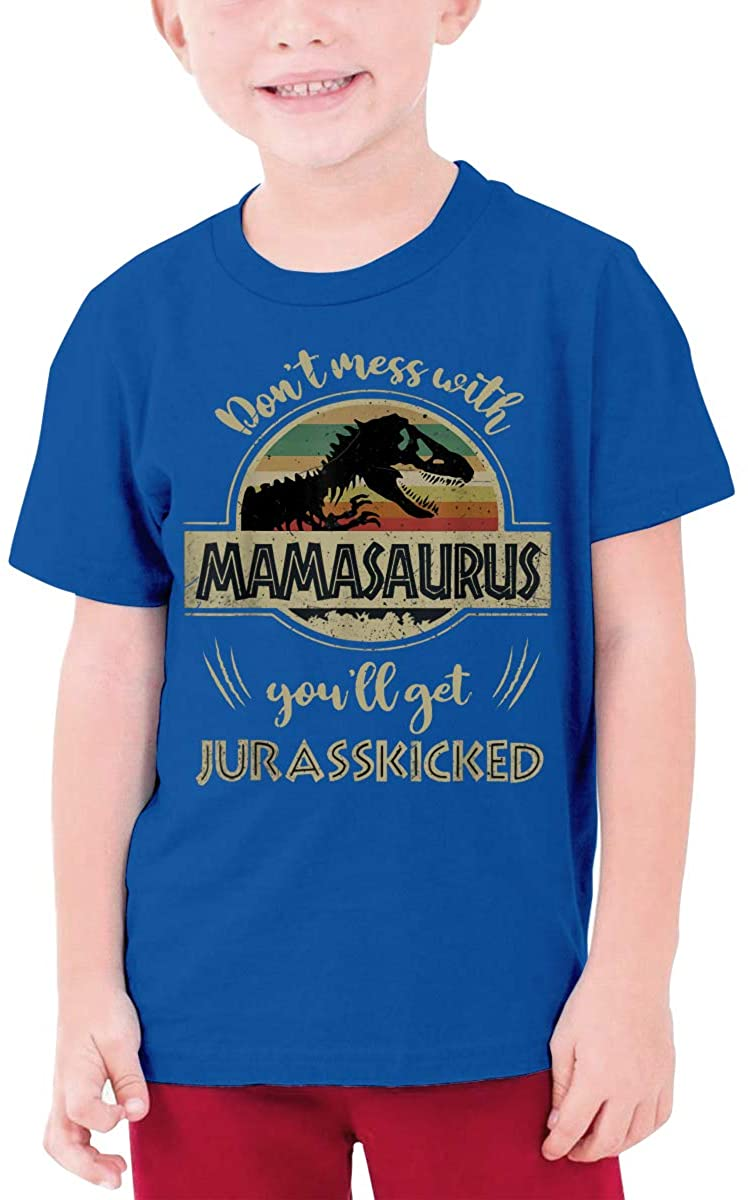 Qwertyi Don't Mess with Mamasaurus You'll Get Jurasskicked Boys Girls Short Sleeve T-Shirt