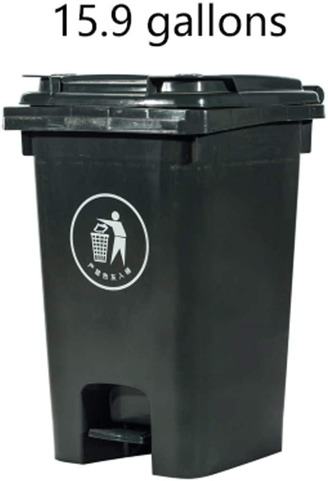 Bolo Trash can Household Outdoor Plastic Garbage Bin Pedal Trash Can with Lid Push Wheel Trash Bin Industrial Hygiene Waste Bin Rubbish bin (Size : E)