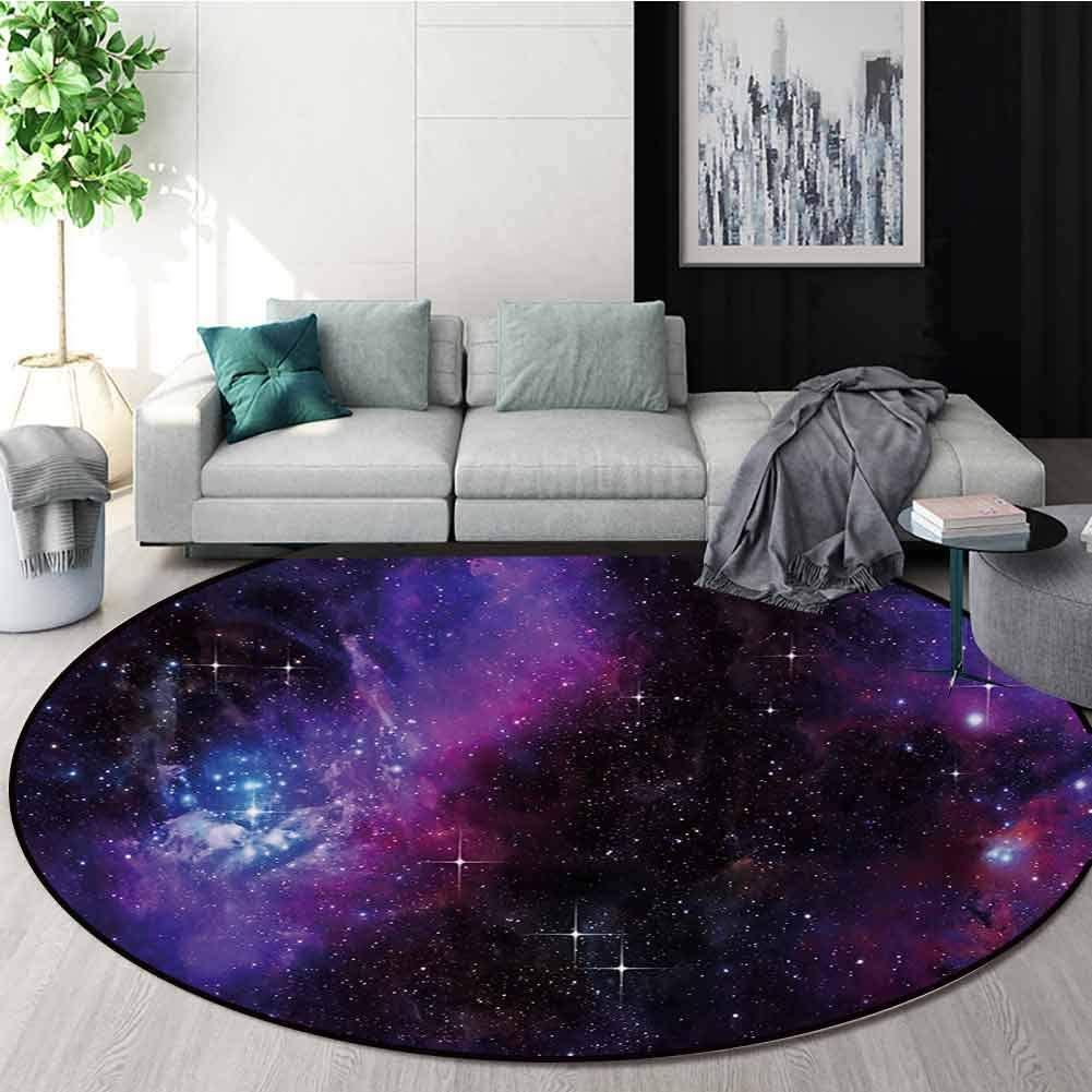 RUGSMAT Space Machine Washable Round Bath Mat,Nebula Dark Galaxy with Luminous Stars and Cosmic Rays Astronomy Explore Theme Non-Slip No-Shedding Bedroom Soft Floor Mat,Diameter-51 Inch