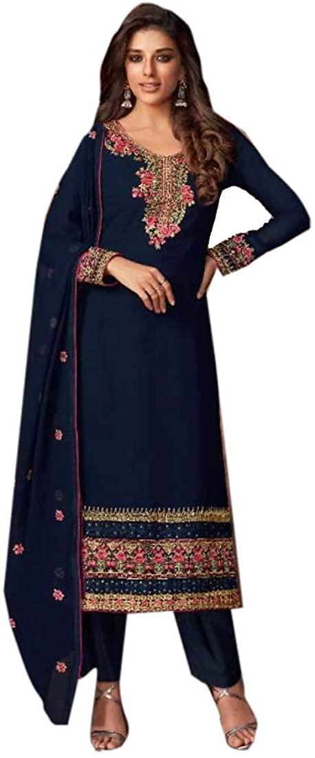 Blue Festival Party Muslim Embroidery Georgette Salwar Kameez Indian Dress 9904B