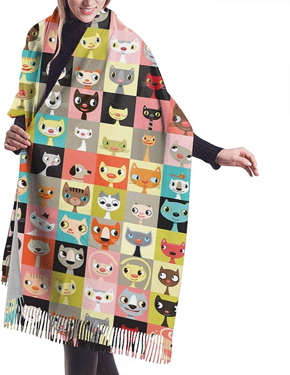 Collage Drawings Of Cats Womens Winter Warm Scarf Fashion Long Large Soft Cashmere Shawl Wrap Scarves