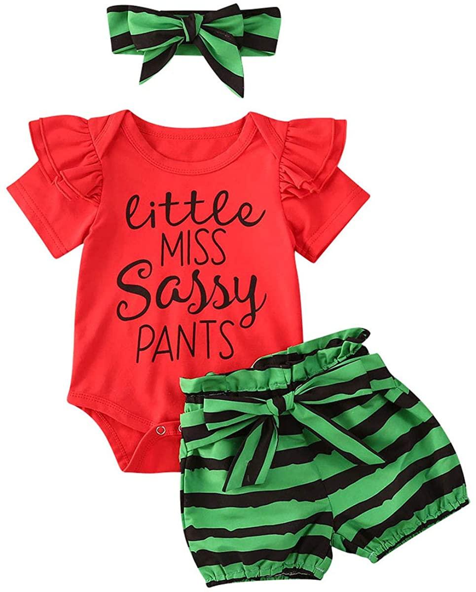 Baby Girl Clothes Newborn Short Sleeve Ruffle Romper Jumpsuit Watermelon Shorts/Pants Headband Set Infant Girl Outfits